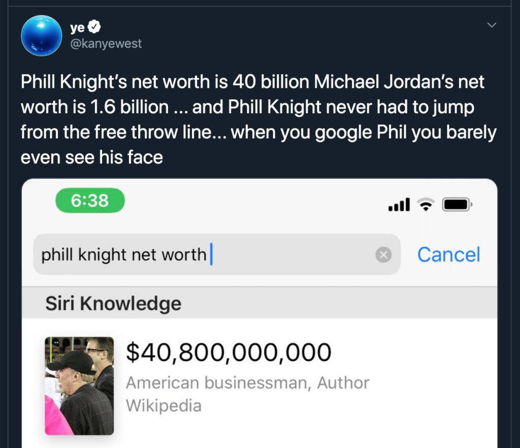 Kanye West rant Twitter Phil Knight
